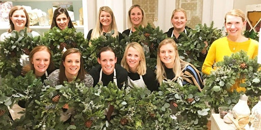 Fresh Wreath Making at glassybaby Berkeley with Alice's Table