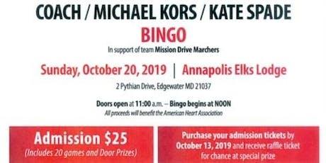 BINGO - Coach / Michael Kors / Kate Spade Bingo tickets