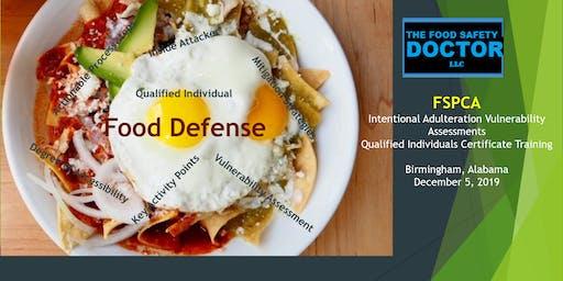 Birmingham, Alabama: FSPCA Food Defense Qualified Individuals (IAVA-QI) Certificate Training