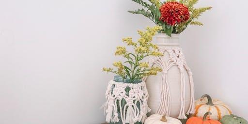 Create + Flow : Macrame Vase Cover & Floral Arrangement