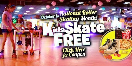 Kids Skate Free on Saturday 10/26/19 at 10am