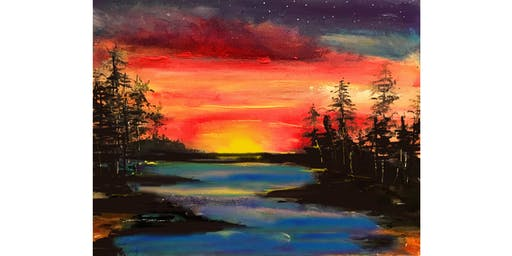 West Coast Sunset Paint & Sip Night - Art Painting, Drink & Food