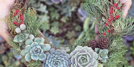 11/15 $36 Succulent & Pine Wreath by Wildbean @ Paint Like ME Studio