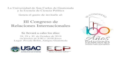 III Congreso de Relaciones Internacionales ECP-USAC entradas