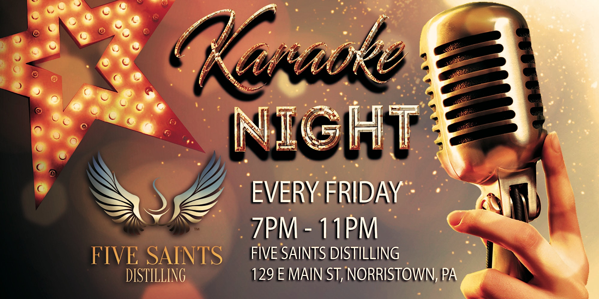 Friday Karaoke at Five Saints Distilling (Norristown Montgomery County, PA)