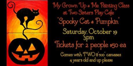 "My Grown-up & Me Painting Class ""Spooky Cat & Pumpkin"" tickets"