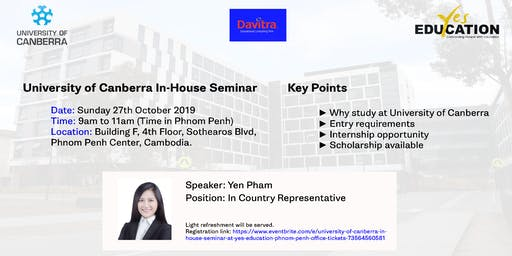 University of Canberra In-House Seminar at Yes Education Phnom Penh Office