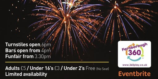 Farnborough Football Club Fireworks Display, Fun Fair & Disco - LIMITED AVAILABILITY