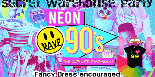 Neon 90s Warehouse Secret Rave