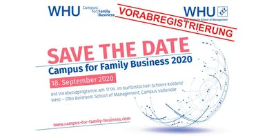 WHU Campus for Family Business 2020 - Vorabregistrierung