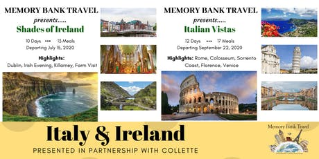 Italy & Ireland with Collette & Memory Bank Travel tickets
