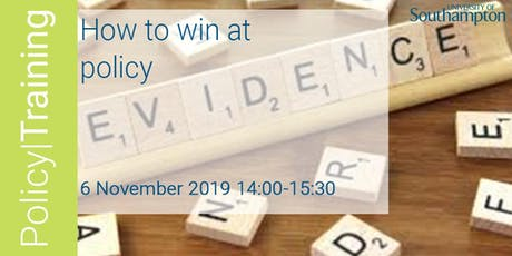 How to win at policy - Autumn 2019 tickets