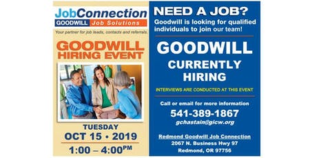 Goodwill is Hiring - Redmond - 10/15/19 tickets