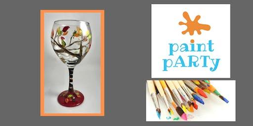 Paint'N'Sip Two Wine Glasses - Fall Leaves - $35 pp