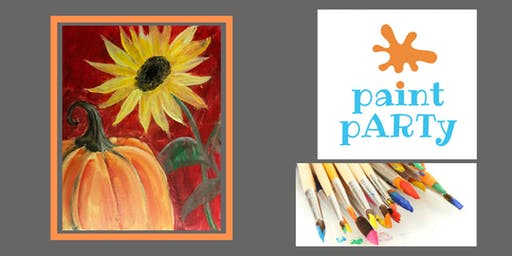 Paint'N'Sip Canvas - Pumpkin Sunflower - $35pp
