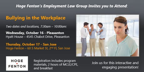 Bullying in the Workplace - San Jose (Non-Client Registration) tickets