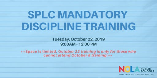 Make Up: SPLC Mandatory Discipline Training