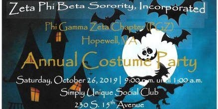 Zeta Phi Beta Sorority Inc. Phi Gamma Zeta Chapter Annual Costume Party