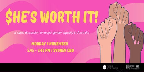 """She's Worth it!: A discussion on wage gender equality in Australia"" tickets"