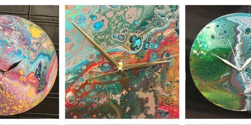 Come make a Clock and Canvas Paint Pour
