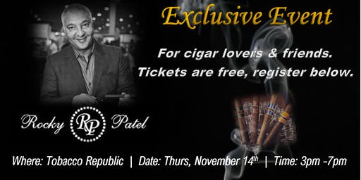 Free Exclusive Cigar Event with Rocky Patel (Sacramento area)