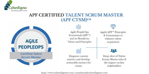 Agile PeopleOps Framework Certified Talent Scrum Master (APF CTSM)™| Parsippany, NJ | Jan 11 -12, 2020