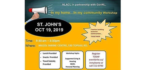 """""""In My Home...In My Community"""" St. John's tickets"""