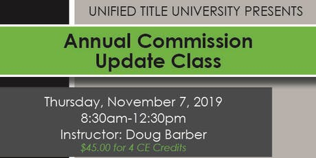 Woodland Park - Annual Commission Update Class tickets