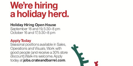 Crate and Barrel Holiday Hiring Open House tickets