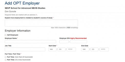 F-1 OPT? ADD OPTIONAL PRACTICAL TRAINING (OPT) EMPLOYER TO MAINTAIN STATUS!