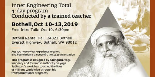 Inner Engineering Total - Technologies for Wellbeing (Yoga and Meditation) October 2019