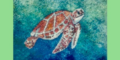 Q-Tip Sea Turtle Painting Class with Art by JAP