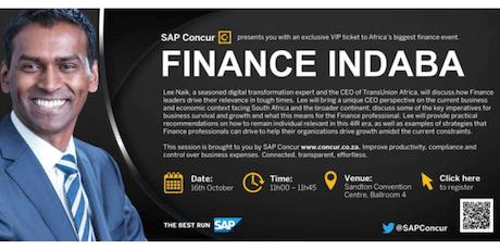 Finance Indaba SAP Concur tickets