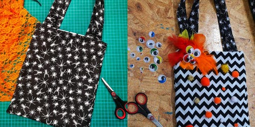 Sew a spooky trick or treat bag or embellish a  bag with Melissa of Aye Aye