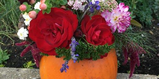 Pumpkin Floral Arrangement: 26th October, Lion and Lamb Cafe: Farnham