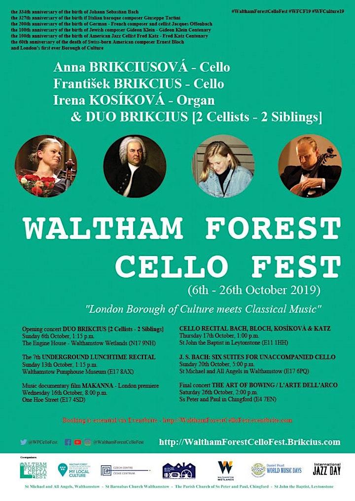 Waltham Forest Cello Fest 2019  - J. S. BACH: SIX CELLO SUITES image