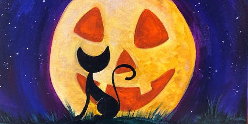 Parent & Child Painting Class - Cat in the Pumpkin Moon