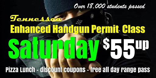 Saturday Enhanced Handgun Cary Permit Class w/Pizza&Range Pass