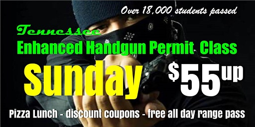 Sunday Enhanced Handgun Carry Permit Class w/Pizza & Range Pass