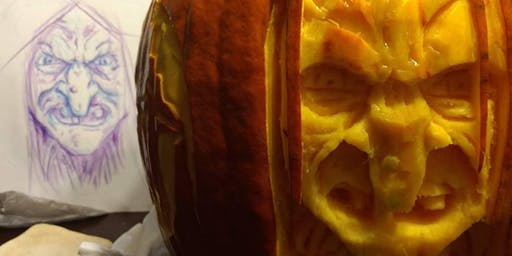 2 Dimensional Creepy Pumpkin Carving Class Adults 21+