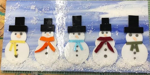 Snowman Family Fused Glass Panel - 11/06/2019