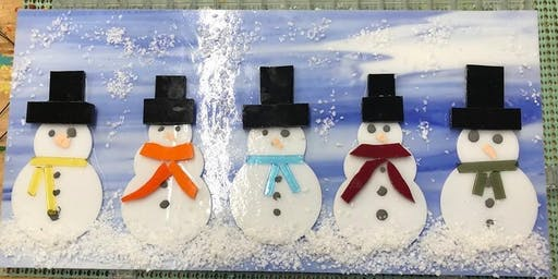 Snowman Family Fused Glass Panel - 12/17/2019