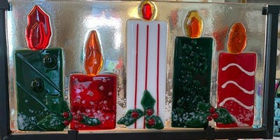Decorative Candle Set OR Conceptual Menorah Fused Glass Panel - 12/13/2019