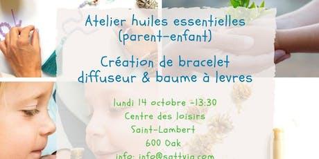 Atelier huiles essentielles creation bracelet diffuseur & baume à levres billets