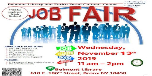 Belmont Library Job Fair- Wednesday, November 13th, 2019