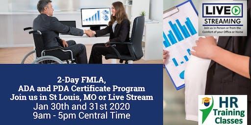 2-Day FMLA, ADA and PDA Certificate Program (Starts 1/30/2020)