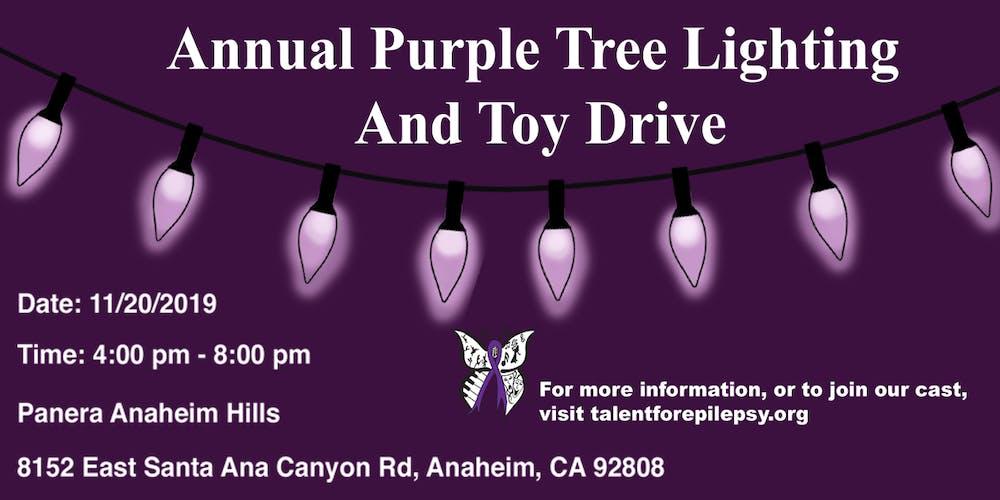 Purple Christmas Tree Lights.Purple Christmas Tree Lighting And Toy Drive For Epilepsy