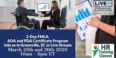 2-Day FMLA, ADA and PDA Certificate Program(Starts 3/25/2020) tickets