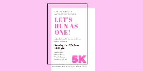 Let's Run As One Breast Cancer Virtual 5K tickets