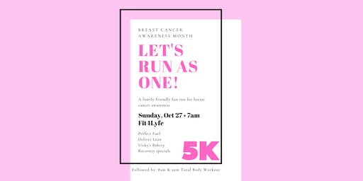 Let's Run As One Breast Cancer Virtual 5K